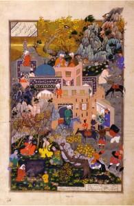 Dust Mohammad, La fille de Haftrad file du coton grâce au ver sorti d'une pomme ramassé en chemin, page du Shâh-Nâme de Shâh Tahmâsp (XVIe siècle)