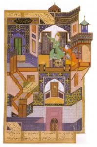 Zolaykhâ dans son palais tente de séduire Joseph, une scène du Boustân de Saadi peinte par Bezhâd en 1489