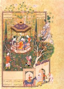 Le jardin profané, scène du Haft Awrang de Djâmi, entre 1556 et 1565