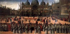 Gentile Bellini, la procession du reliquaire de la Croix sur la place Saint Marc, 1496, Gallerie dell'Accademia