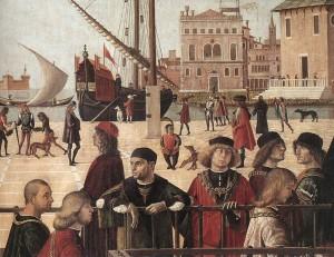 Vittore Carpaccio, L'arrivée des ambassadeurs anglais (détail), Gallerie dell'Accademia, 1495-1500
