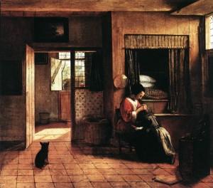 Pieter de Hooch, Scène d'intérieur avec une mère épouillant son enfant, 1660
