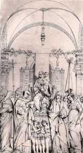 Francesco Zanotto, gravure représentant le tableau d'autel disparu de Giovanni Bellini pour l'église San Giovanni e Paolo, XIXe siècle