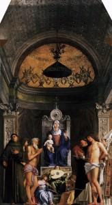 Giovanni Bellini, Vierge à l'enfant entourée de saints, pala de San Giobbe, 1487, Gallerie dell'Academia, Venise