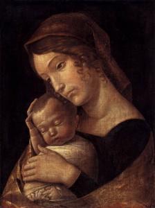 Andrea Mantegna, Vierge à l'enfant endormi, Staatliche Museen, Berlin, 1465-70