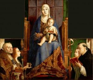 Antonello de Messine, Vierge à l'enfant entourée de saints, pala de San Cassiano, 1475-76