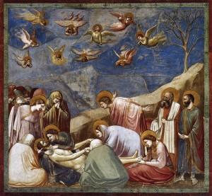 Giotto, no. 36 Scènes de la vie du Christ, 20. Lamentation,  1304-06, détail d'une fresque à la chapelle Scrovegni à Padoue