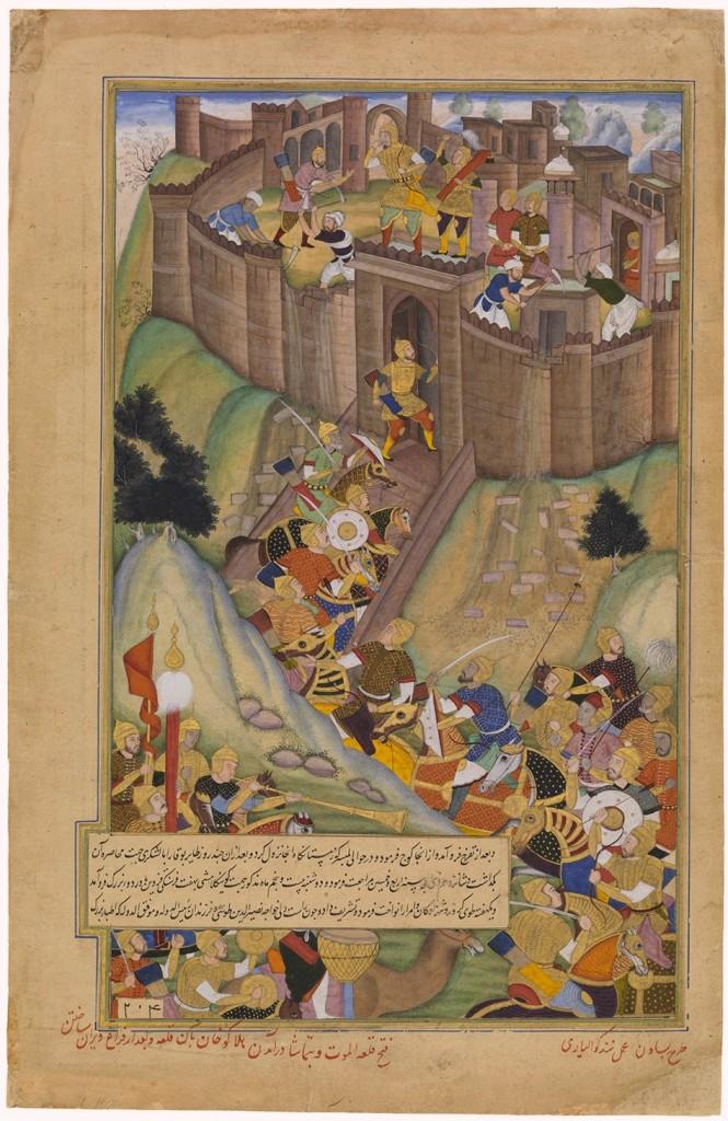 La démolition d'Alamut par Hulagu Khan, Manuscrit de Basâwan et Nand Gwaliori, environ 1596