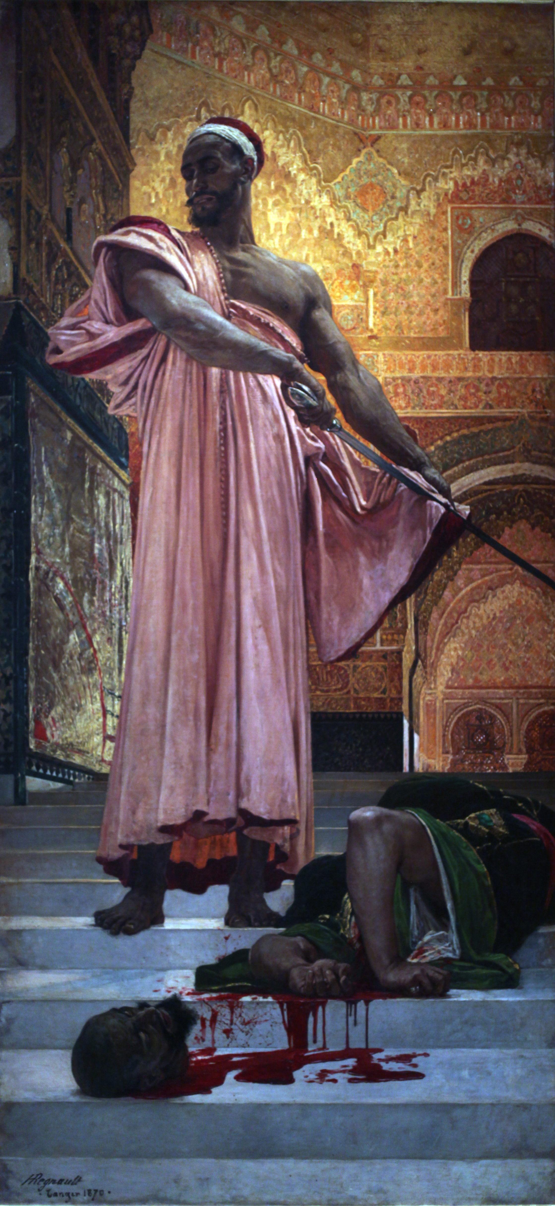 Exemple de peinture orientaliste : Henri Régnault, Exécution sans jugement sous les rois maures de Grenade, 3,02m x 1,46 m, 1970, musée d'Orsay.