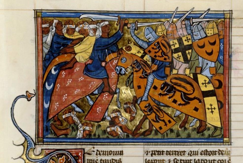 Richard de Montbaston, La bataille d'Antioche (1098), miniature illustrant les Chroniques de Guillaume de Tyr, 1337, folio 43, BNF.