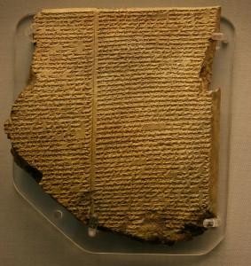Gilgamesh, tablette cunéiforme du déluge