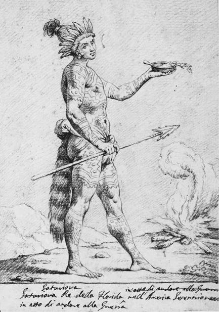 Saturiova Re della Florida nell America Setentrional in atto di andare alla Guare, drawing by Jacques LeMoyne de Morgues, ca. 1588.