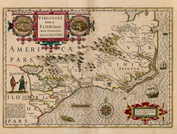 carte Floride et Virginie Hondius